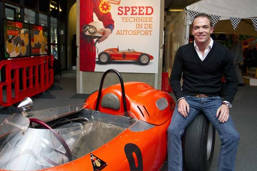 Robert Doornbos and Carel's Porsche 718 F2 at the Museon, The Hague, 31 March 2010